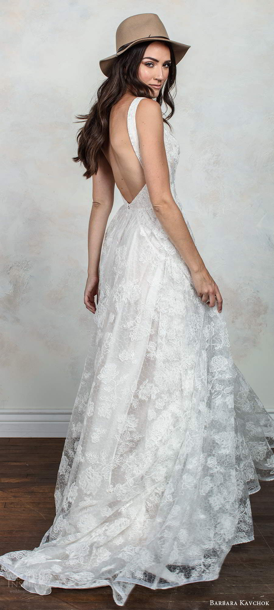 barbara kavchok fall 2020 bridal sleeveless thick straps plunging v neckline fully embellished lace a line ball gown wedding dress low back chapel train  (4) bv
