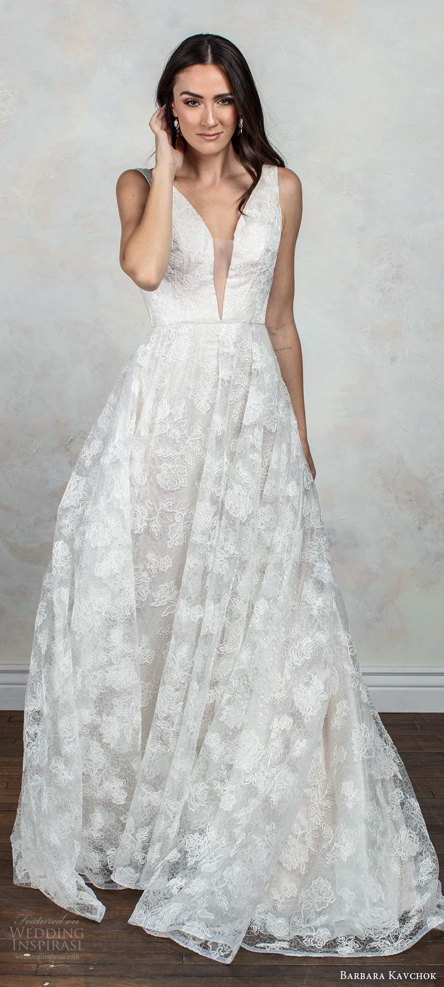 barbara kavchok fall 2020 bridal sleeveless thick straps plunging v neckline fully embellished lace a line ball gown wedding dress low back chapel train  (4) mv