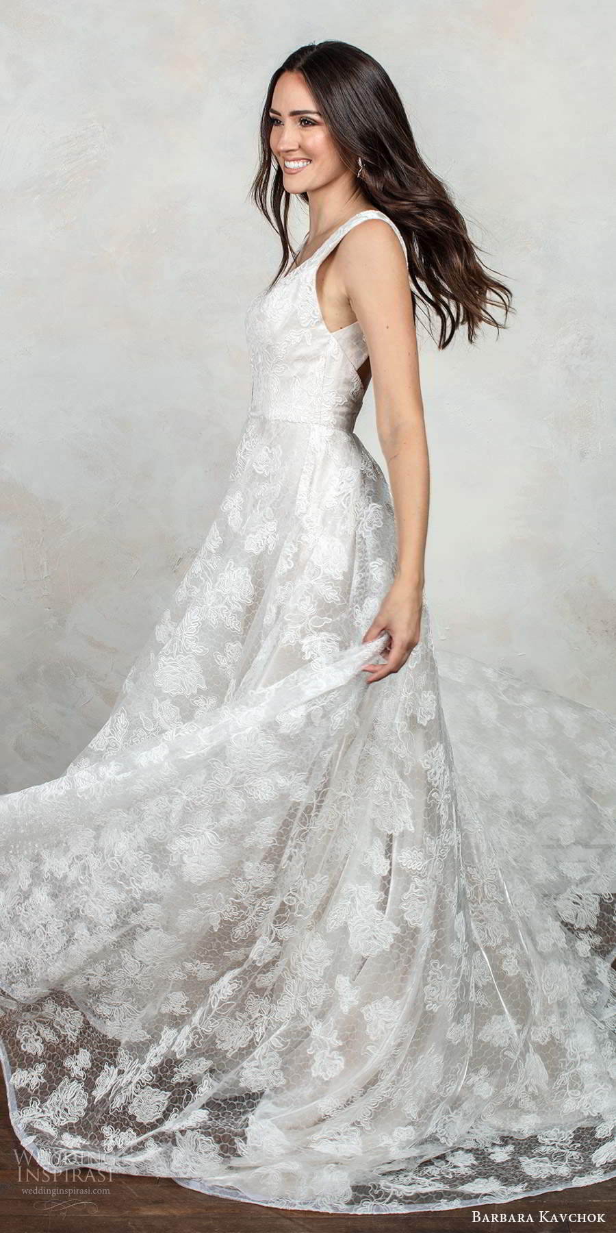 barbara kavchok fall 2020 bridal sleeveless thick straps plunging v neckline fully embellished lace a line ball gown wedding dress low back chapel train  (4) sv