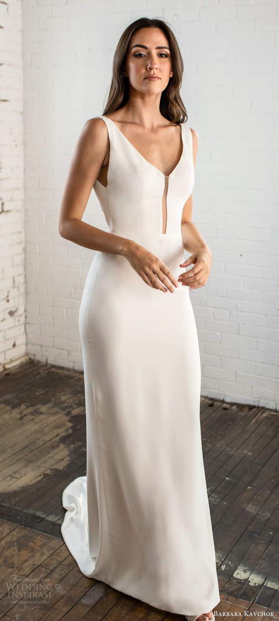 barbara kavchok fall 2020 bridal sleeveless v neckline clean minimally embellished sheath wedding dress keyhole back chapel train (3) bv