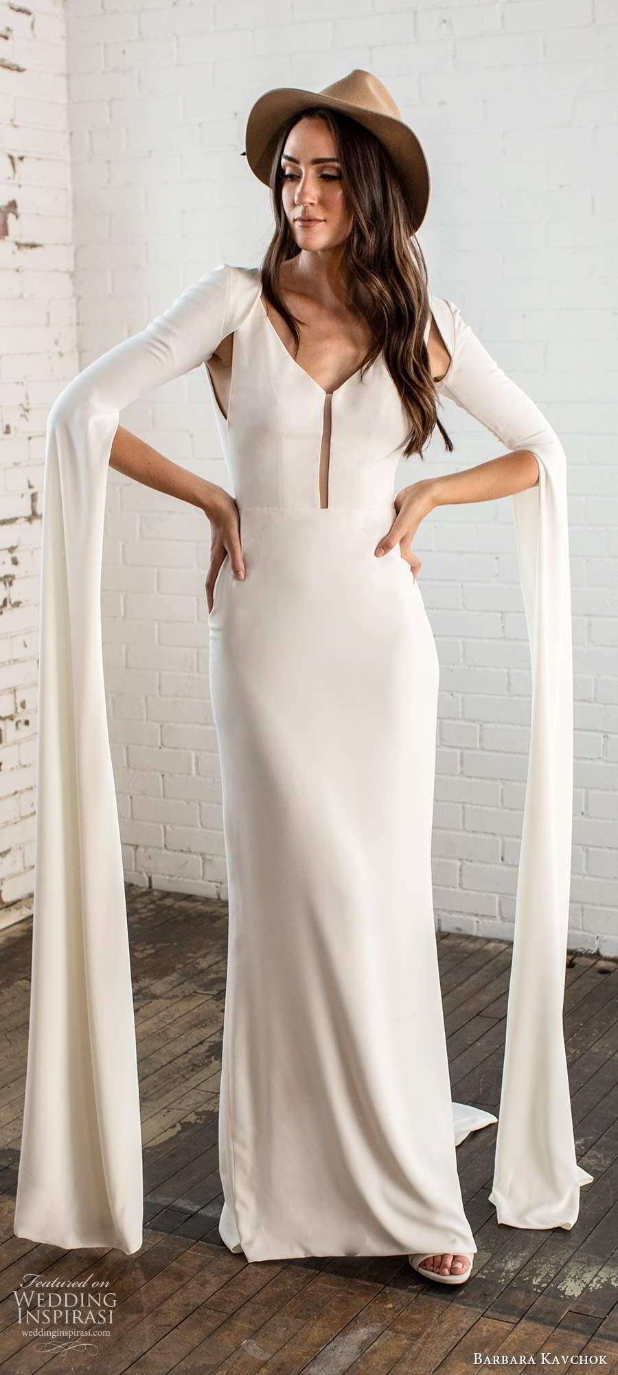 barbara kavchok fall 2020 bridal sleeveless v neckline clean minimally embellished sheath wedding dress keyhole back chapel train long sleeve capelet (3) mv