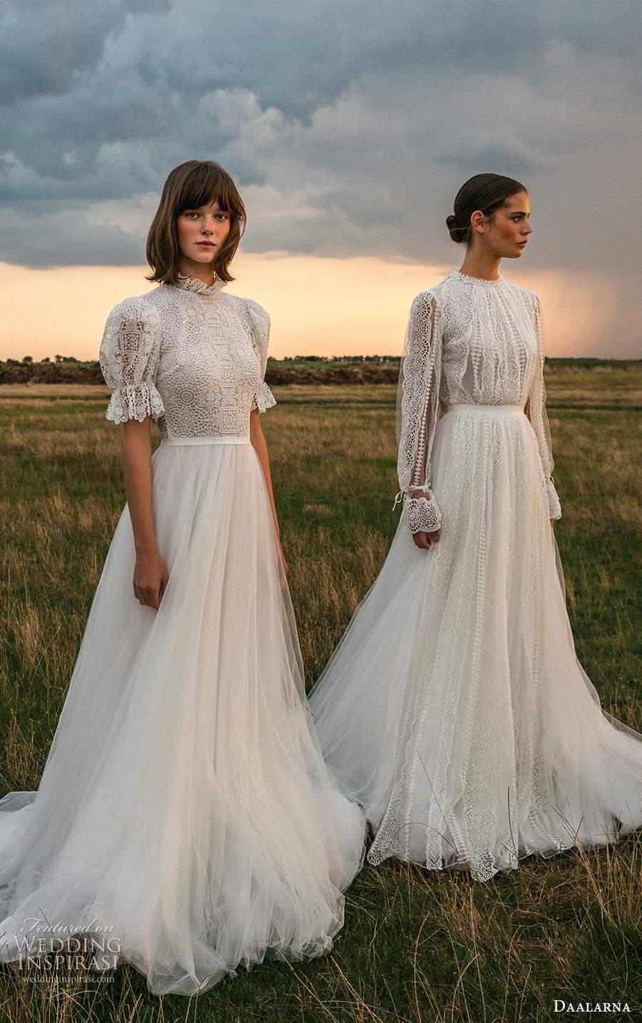 daalarna fall 2020 bridal sleeves boho chic a line ball gown wedding dresses (24) mv