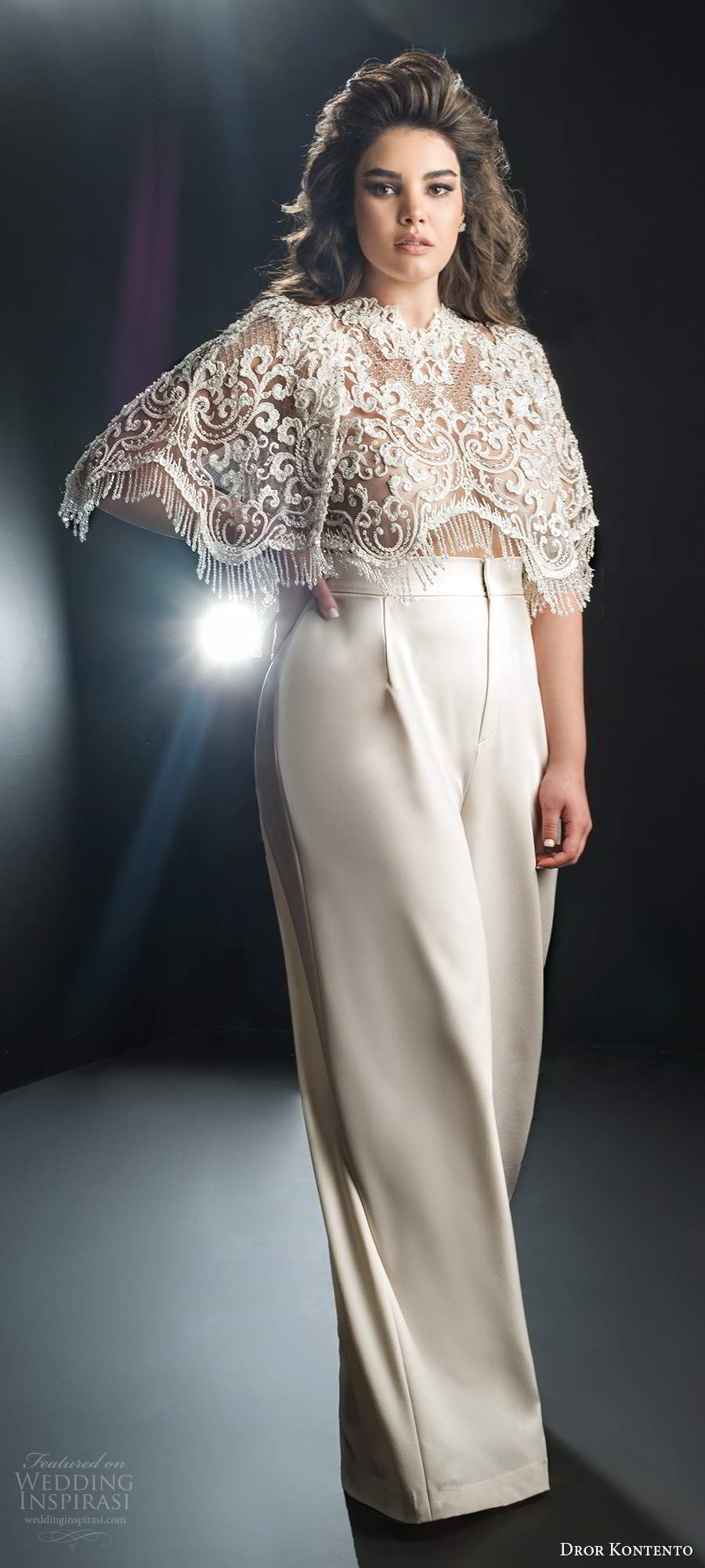 dror kontento 2019 bridal illusion flutter sleeves capelet heavily embellished bodice pants wedding dress (4) mv