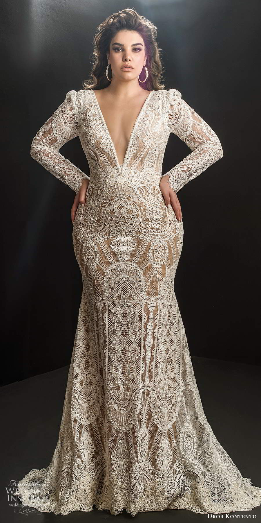 dror kontento 2019 bridal illusion long puff sleeves plunging v neckline fully embellished lace fit flare mermaid wedding dress chapel train (1) mv