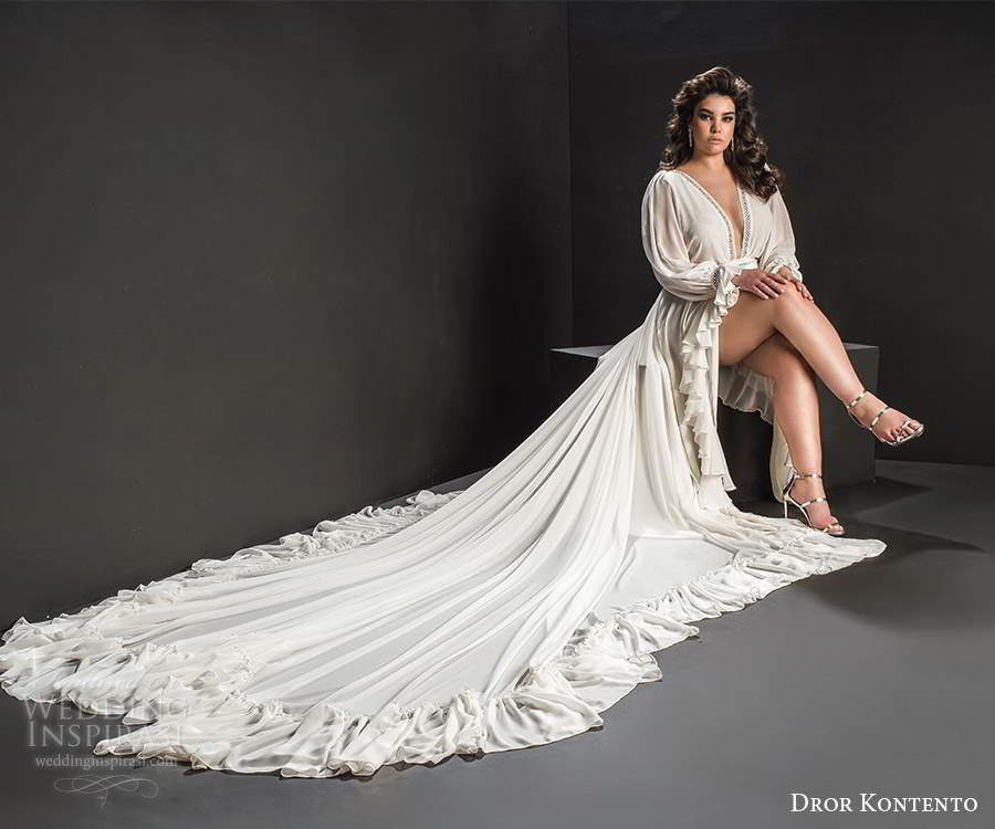 dror kontento 2019 bridal long poet sleeves plunging v neckline minimally embellished high low ruffle skirt a line wedding dress cathedral train (6) fv