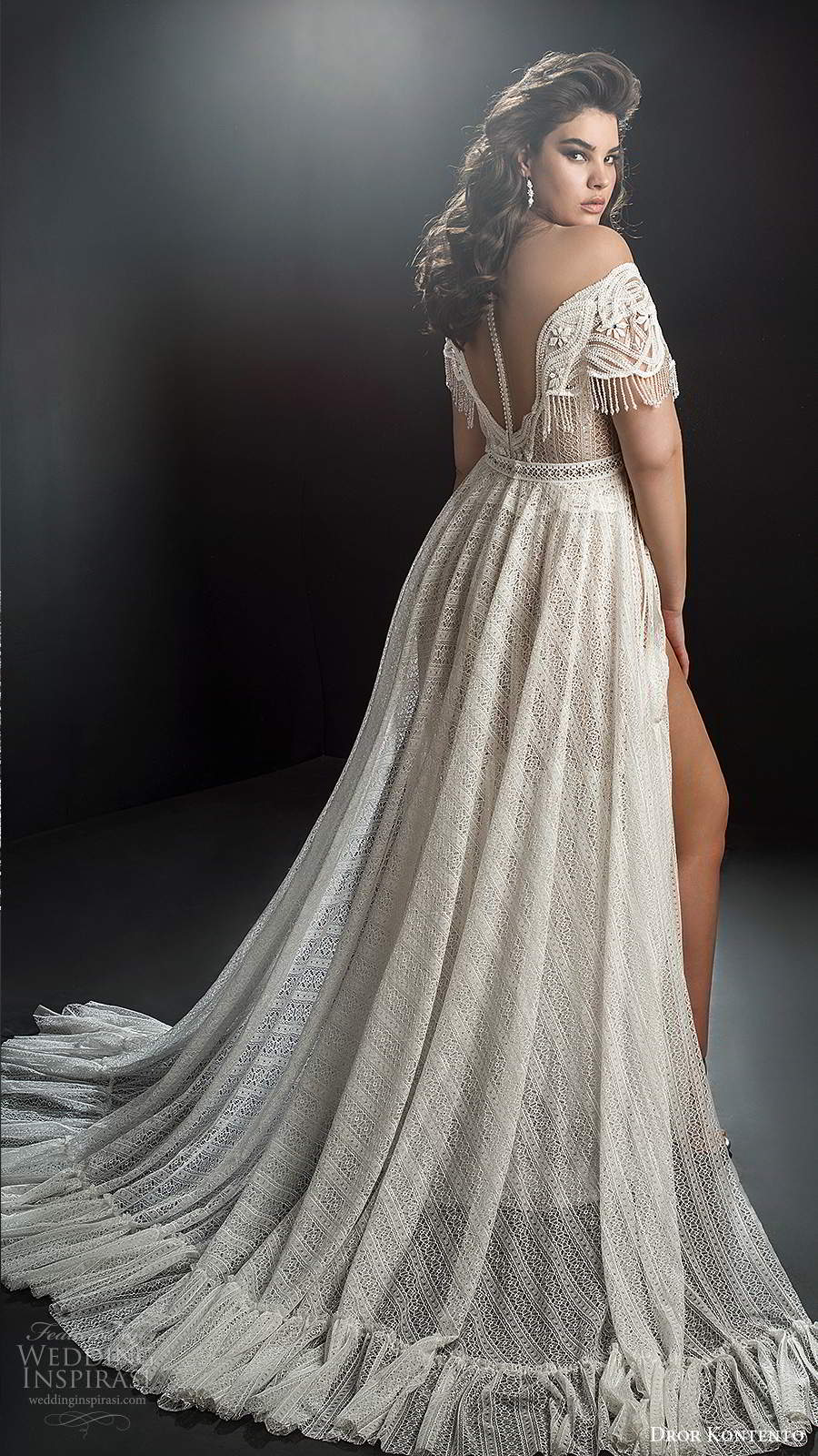 dror kontento 2019 bridal off shoulder sheer cap sleeves v neckline fully embellished a line ball gown wedding dress slit skirt chapel train (3) bv