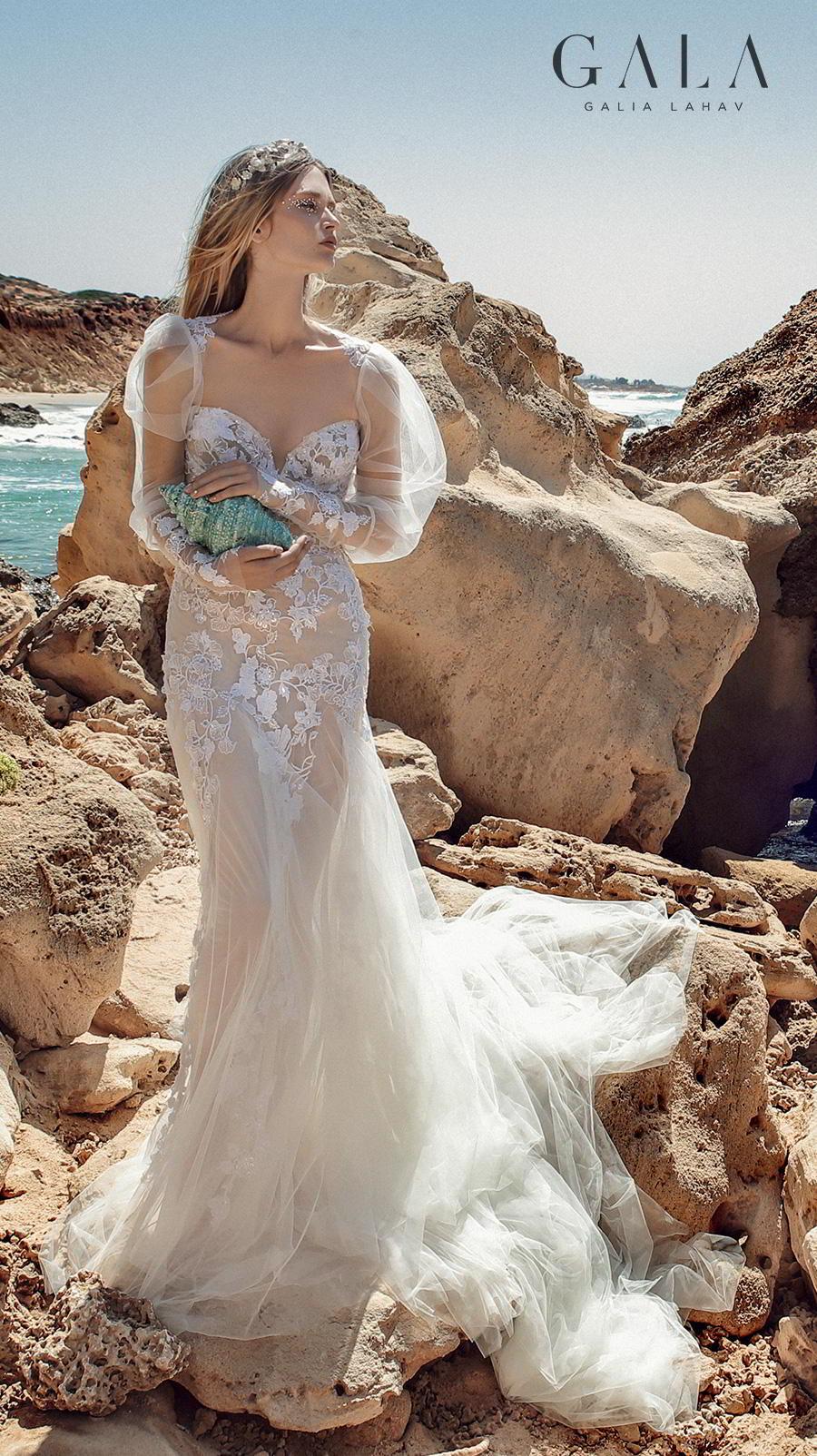 galia lahav fall 2020 gala no 9 bridal long puff sleeves sweetheart neckline heavily embellished bodice romantic fit and flare trumpet wedding dress chapel train (409) mv