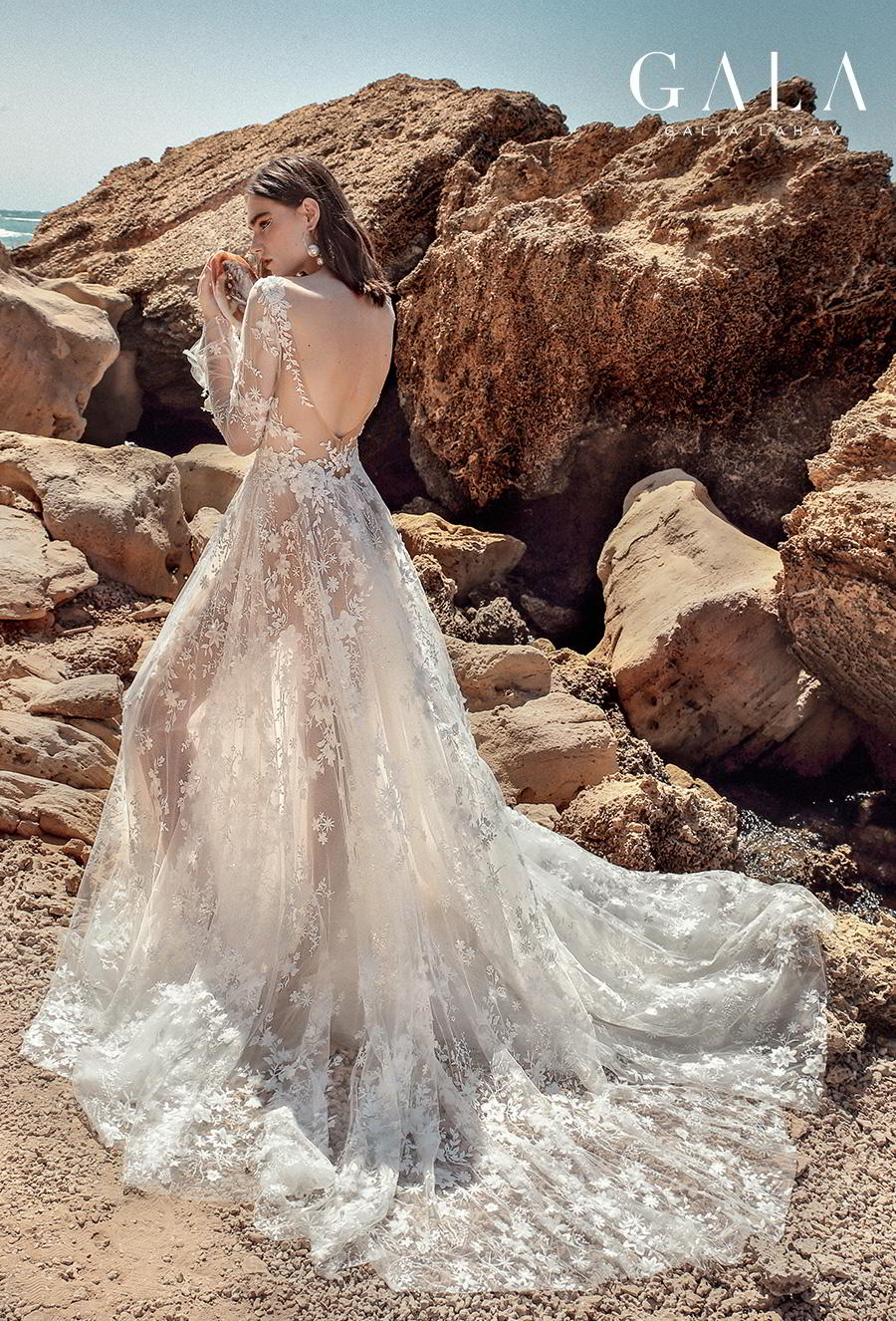 galia lahav fall 2020 gala no 9 bridal long sleeves deep v neck full embellishment romantic soft a  line wedding dress backless scoop back chapel train (408) bv