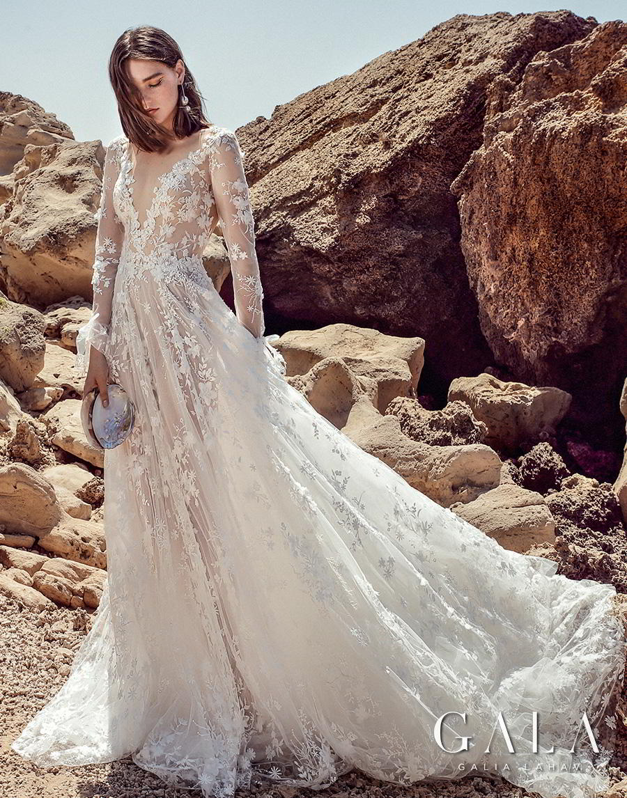 galia lahav fall 2020 gala no 9 bridal long sleeves deep v neck full embellishment romantic soft a  line wedding dress backless scoop back chapel train (408) mv