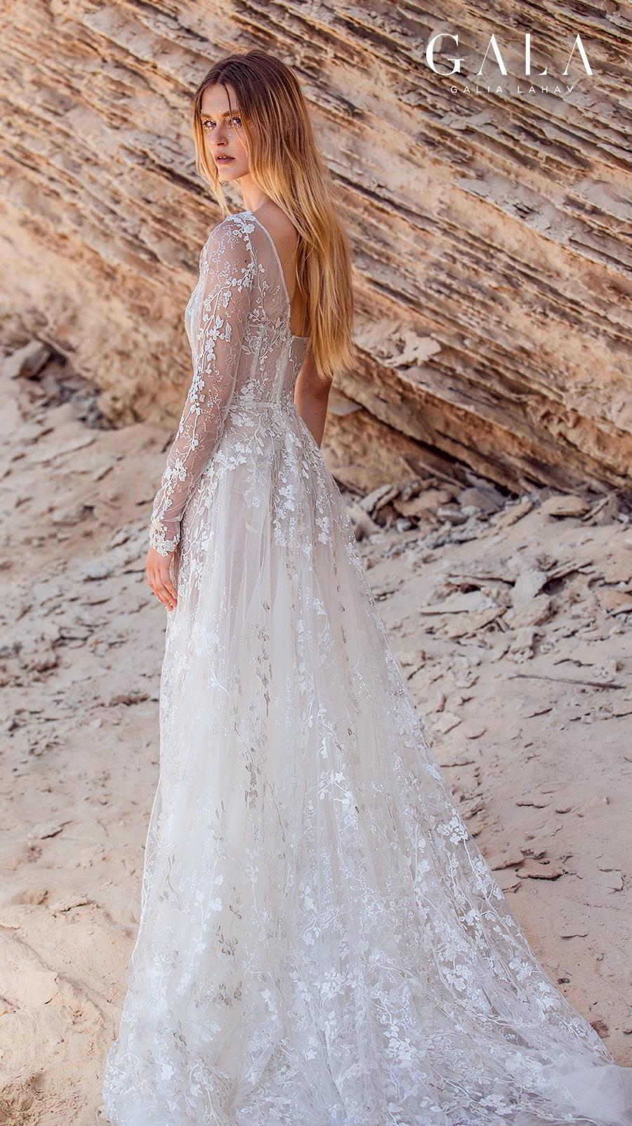 galia lahav fall 2020 gala no 9 bridal long sleeves one shoulder square neckline full embellishment slit skirt romantic a  line wedding dress chapel train (407) bv