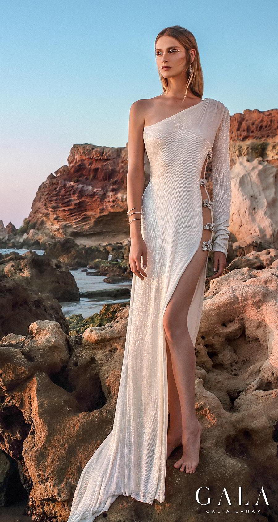 galia lahav fall 2020 gala no 9 bridal one shoulder asymmetrical neckline simple shimmering elegant sexy slit skirt sheath wedding dress backless cowl back medium train (406) mv