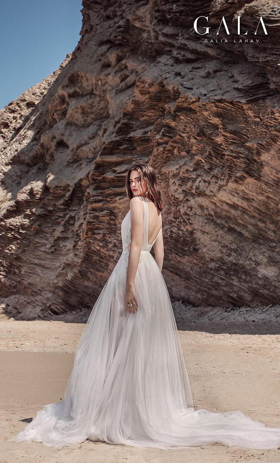 galia lahav fall 2020 gala no 9 bridal sleeveless ribbon straps deep v neck ruched bodice romantic soft a  line wedding dress backless v back chapel train (411) bv