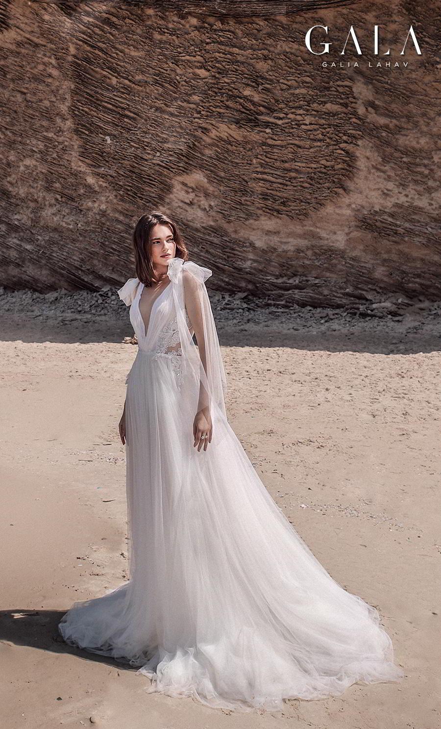 galia lahav fall 2020 gala no 9 bridal sleeveless ribbon straps deep v neck ruched bodice romantic soft a  line wedding dress backless v back chapel train (411) mv