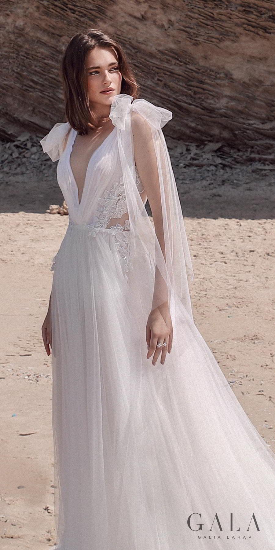 galia lahav fall 2020 gala no 9 bridal sleeveless ribbon straps deep v neck ruched bodice romantic soft a  line wedding dress backless v back chapel train (411) zv