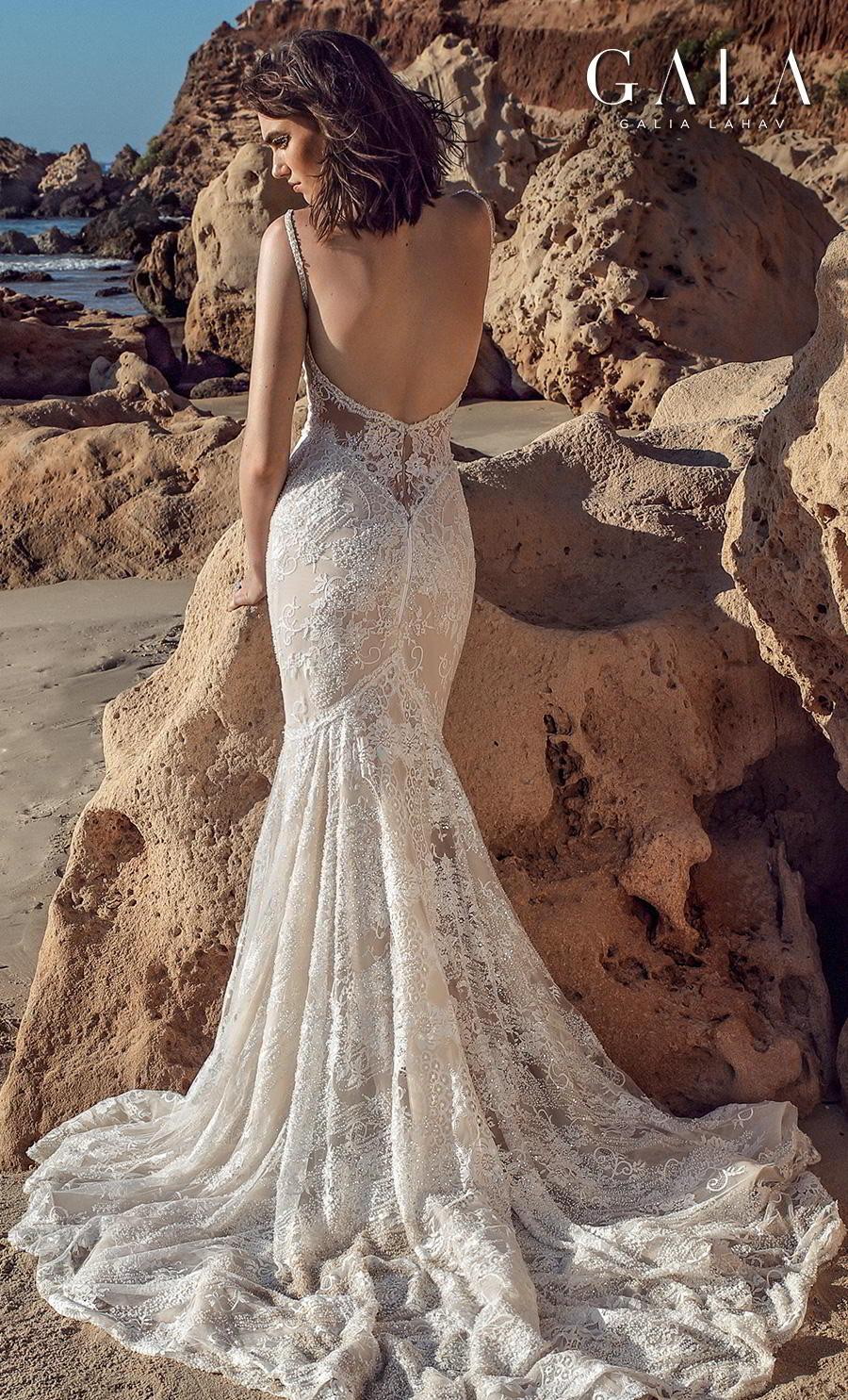 galia lahav fall 2020 gala no 9 bridal sleeveless thin strap deep plunging v neck full embellishment elegant fit and flare mermaid wedding dress backless medium train (404) bv