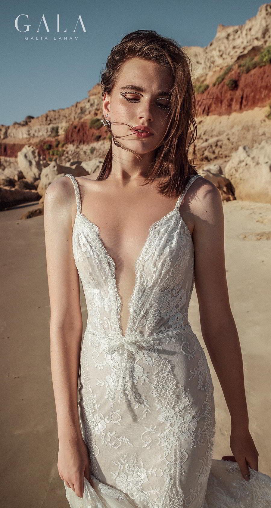 galia lahav fall 2020 gala no 9 bridal sleeveless thin strap deep plunging v neck full embellishment elegant fit and flare mermaid wedding dress backless medium train (404) zv