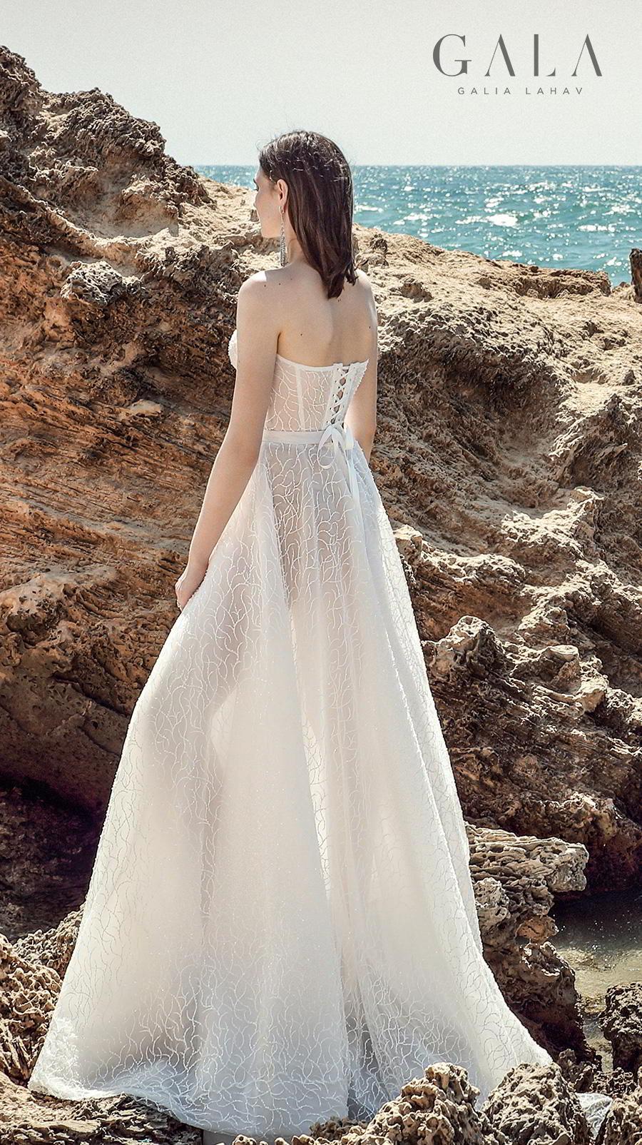 galia lahav fall 2020 gala no 9 bridal strapless deep sweetheart neckline full embellishment romantic a  line wedding dress mid back sweep train (412) bv