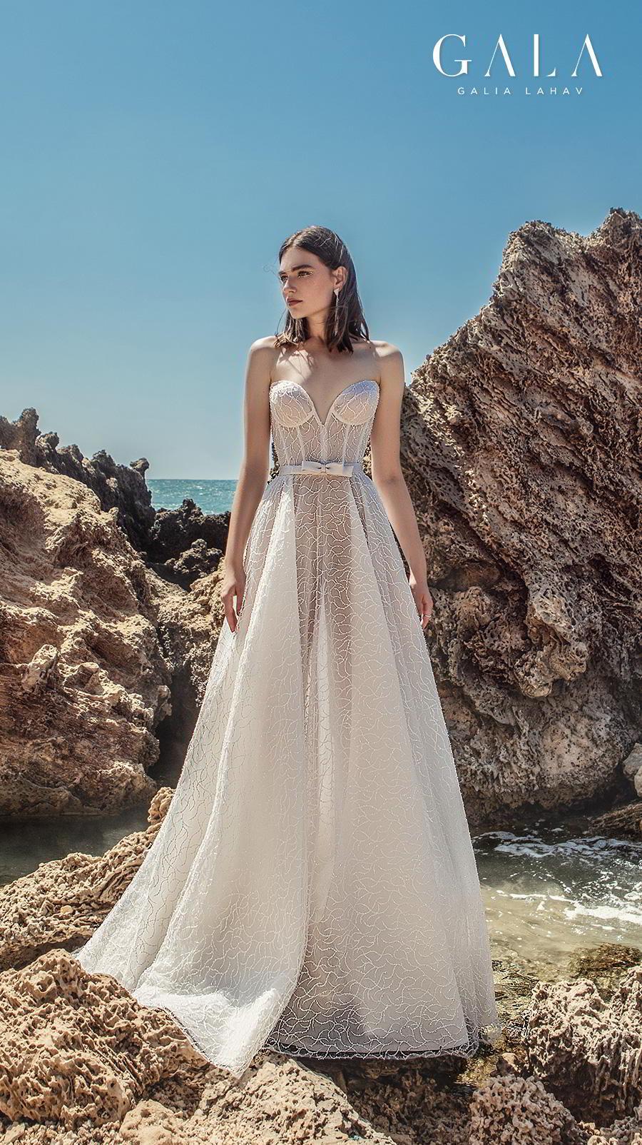 galia lahav fall 2020 gala no 9 bridal strapless deep sweetheart neckline full embellishment romantic a  line wedding dress mid back sweep train (412) mv