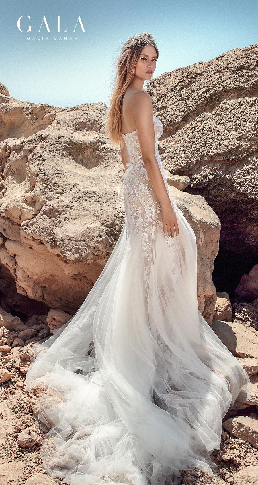 galia lahav fall 2020 gala no 9 bridal strapless sweetheart neckline heavily embellished bodice romantic fit and flare trumpet wedding dress chapel train (409) bv