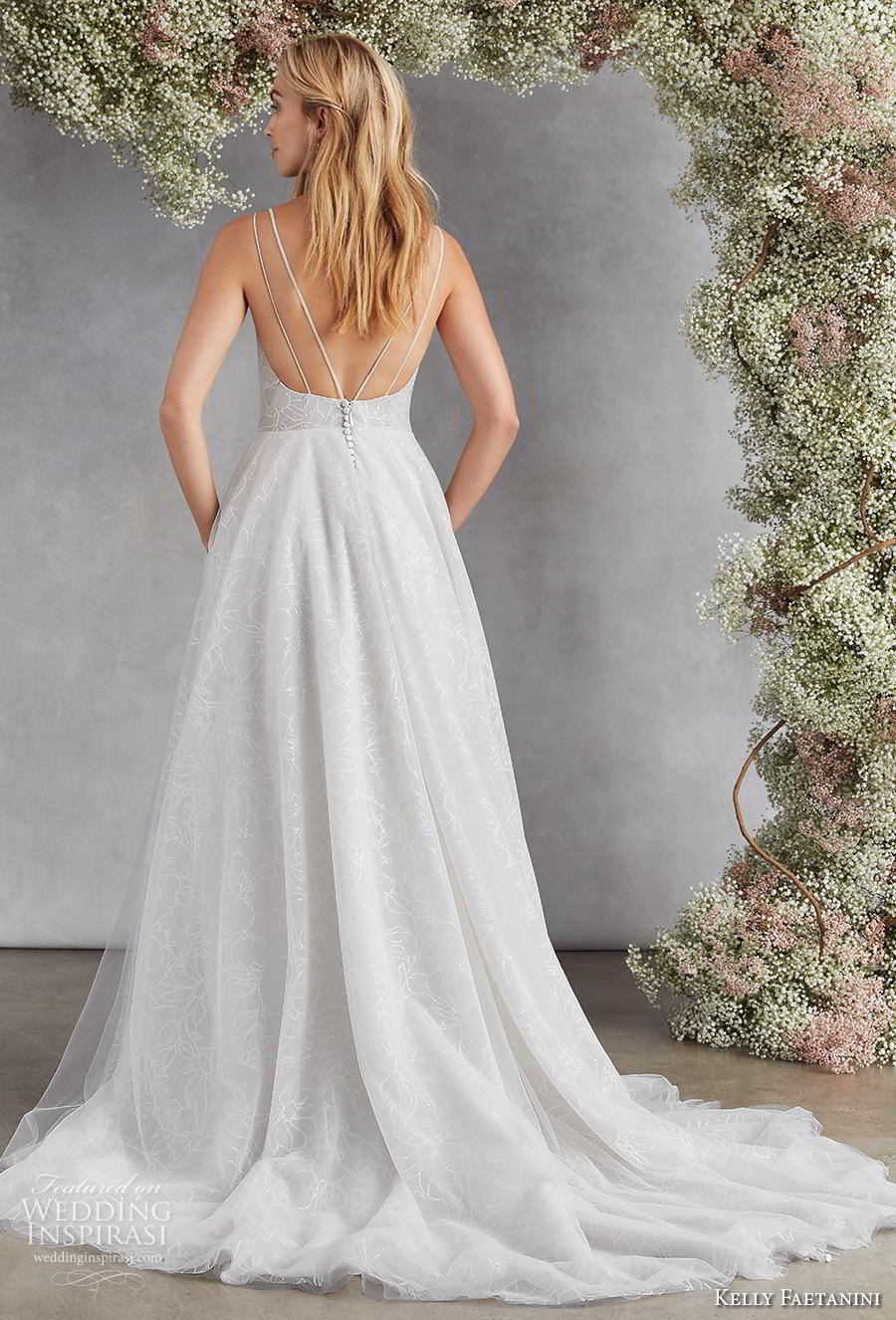 kelly faetanini fall 2020 bridal double strap v neck light embellishment romantic pale blue a  line wedding dress with pockets v back chapel train (12) bv
