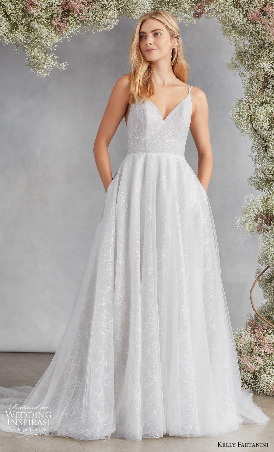 kelly faetanini fall 2020 bridal double strap v neck light embellishment romantic pale blue a  line wedding dress with pockets v back chapel train (12) mv