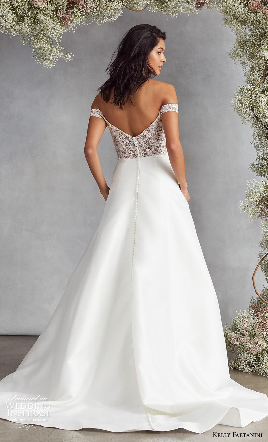 kelly faetanini fall 2020 bridal off the shoulder sweetheart neckline heavily embellished bodice plain skirt elegant classic a  line wedding dress v back medium train (3) bv