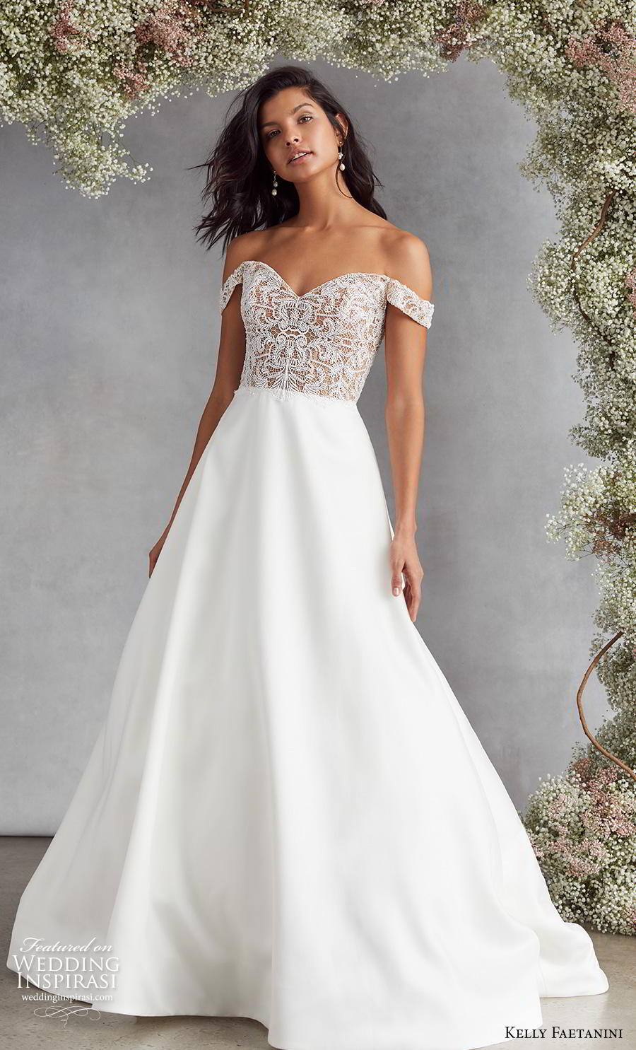 kelly faetanini fall 2020 bridal off the shoulder sweetheart neckline heavily embellished bodice plain skirt elegant classic a  line wedding dress v back medium train (3) mv