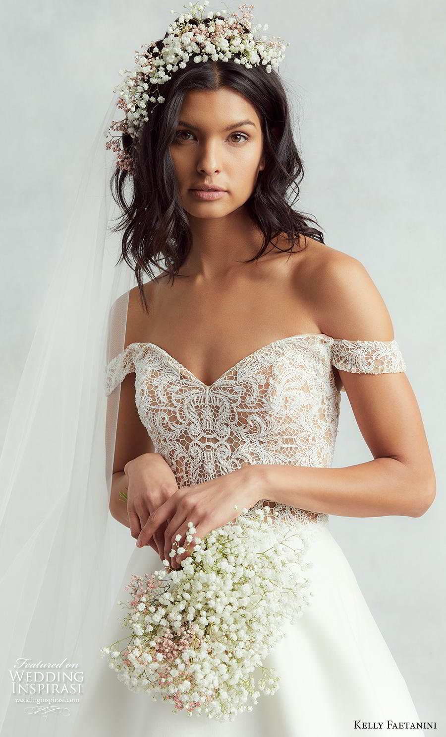kelly faetanini fall 2020 bridal off the shoulder sweetheart neckline heavily embellished bodice plain skirt elegant classic a  line wedding dress v back medium train (3) zv