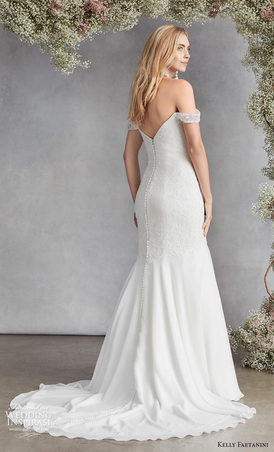 kelly faetanini fall 2020 bridal off the shoulder sweetheart neckline heavily embellished bodice romantic mermaid wedding dress mid back medium train (13) bv