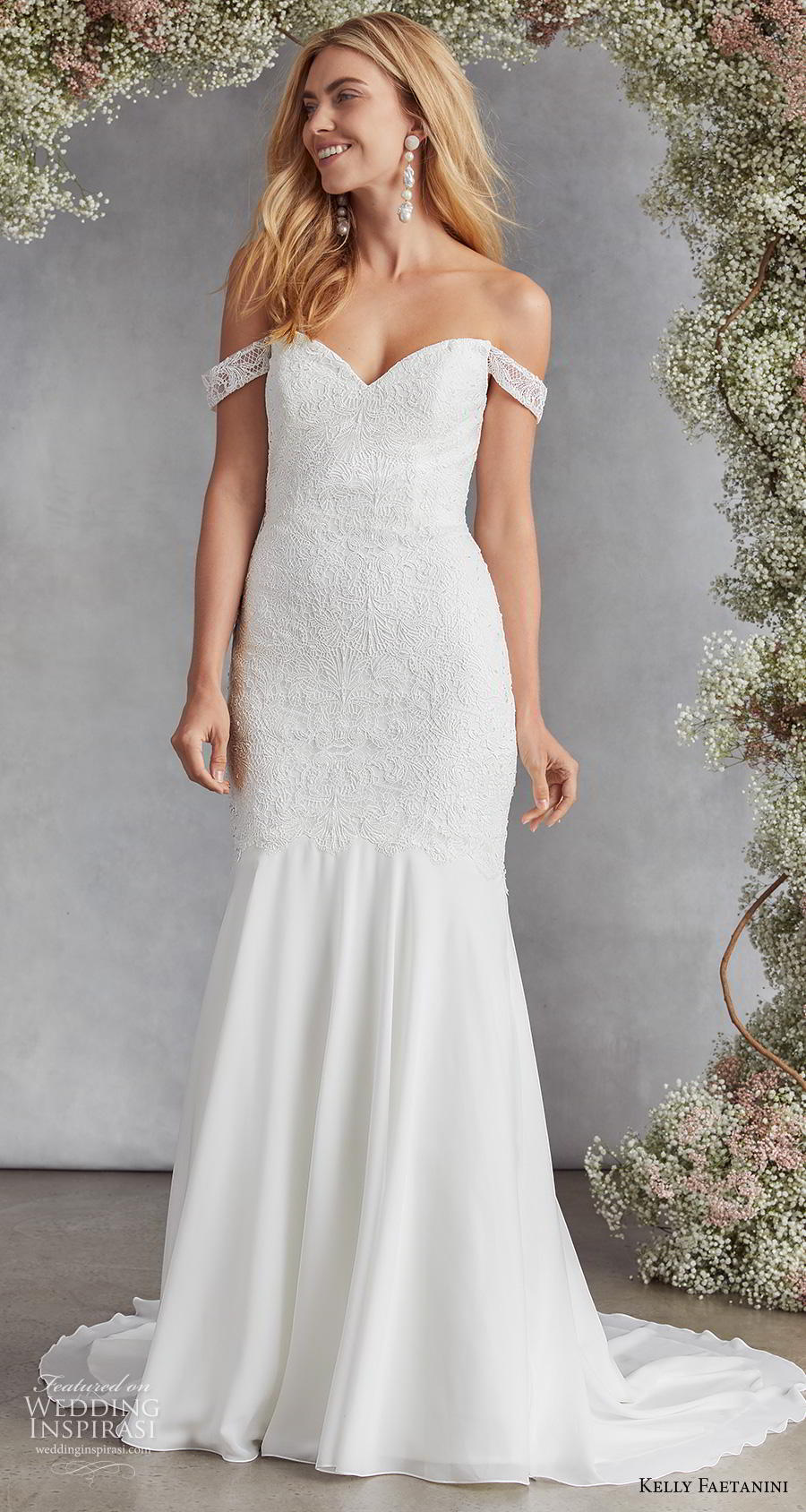kelly faetanini fall 2020 bridal off the shoulder sweetheart neckline heavily embellished bodice romantic mermaid wedding dress mid back medium train (13) mv