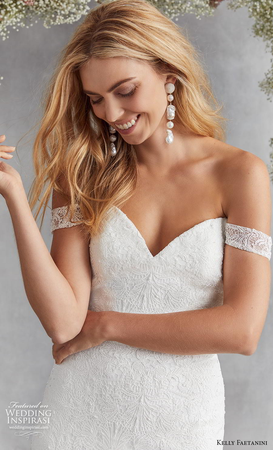 kelly faetanini fall 2020 bridal off the shoulder sweetheart neckline heavily embellished bodice romantic mermaid wedding dress mid back medium train (13) zv