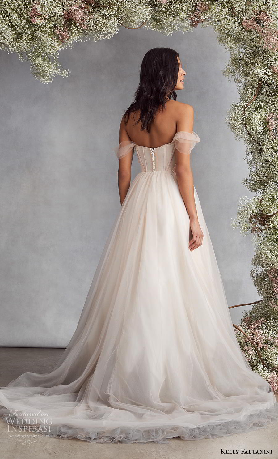 kelly faetanini fall 2020 bridal off the shoulder sweetheart neckline pleated bodice tulle skirt simple romantic blush a  line wedding dress mid back medium train (2) bv