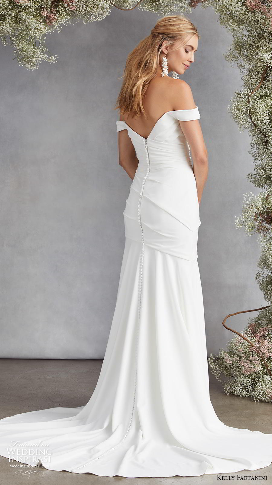 kelly faetanini fall 2020 bridal off the shoulder sweetheart neckline ruched bodice romantic simple minimalist elegant mermaid wedding dress mid back medium train (6)  bv