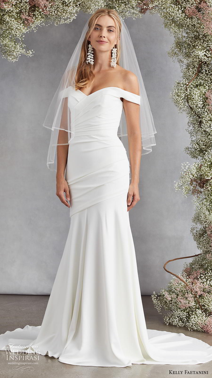 kelly faetanini fall 2020 bridal off the shoulder sweetheart neckline ruched bodice romantic simple minimalist elegant mermaid wedding dress mid back medium train (6)  mv