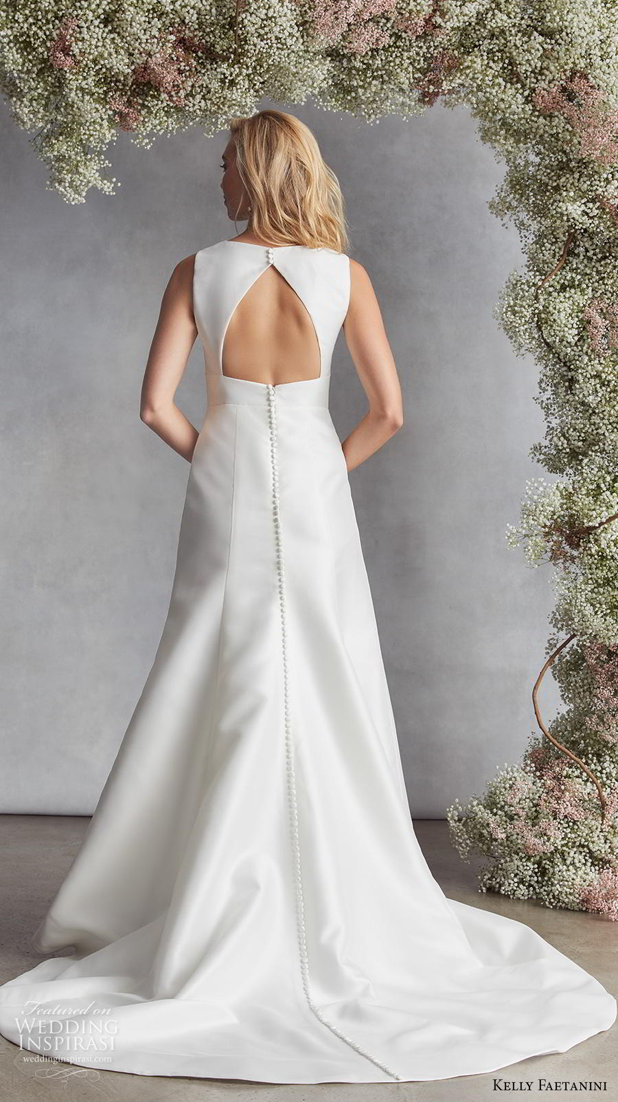 kelly faetanini fall 2020 bridal sleeveless deep plunging funnel v neck simple minimalist elegant modified a  line wedding dress keyhole back chapel train (9) bv