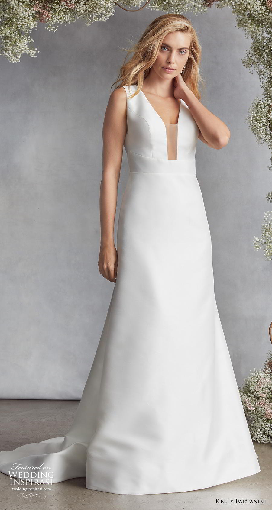 kelly faetanini fall 2020 bridal sleeveless deep plunging funnel v neck simple minimalist elegant modified a  line wedding dress keyhole back chapel train (9) mv