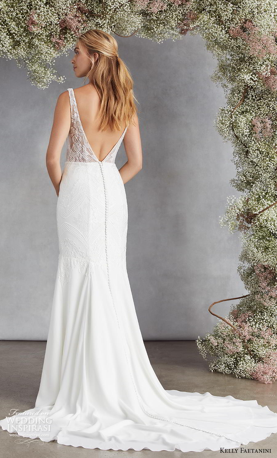 kelly faetanini fall 2020 bridal sleeveless deep plunging v neck heavily embellished bodice elegant classic mermaid wedding dress backless v back chapel train (17) bv