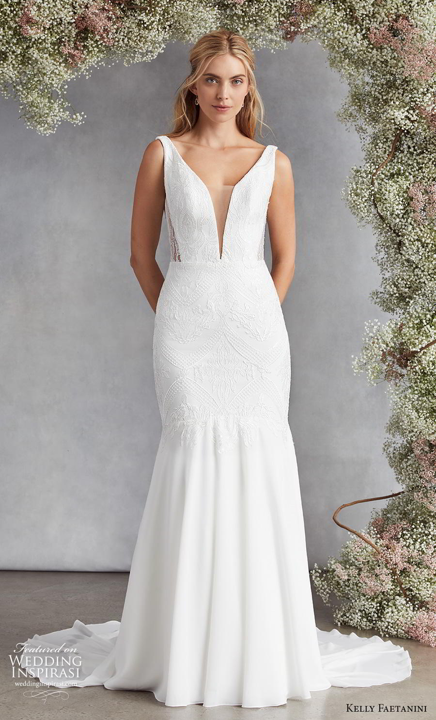 kelly faetanini fall 2020 bridal sleeveless deep plunging v neck heavily embellished bodice elegant classic mermaid wedding dress backless v back chapel train (17) mv