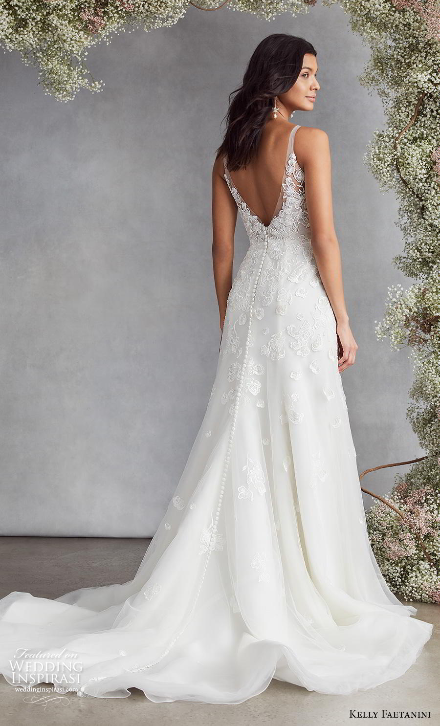 kelly faetanini fall 2020 bridal sleeveless deep plunging v neck heavily embellished bodice romantic modified a  line wedding dress backless v back chapel train (5) bv