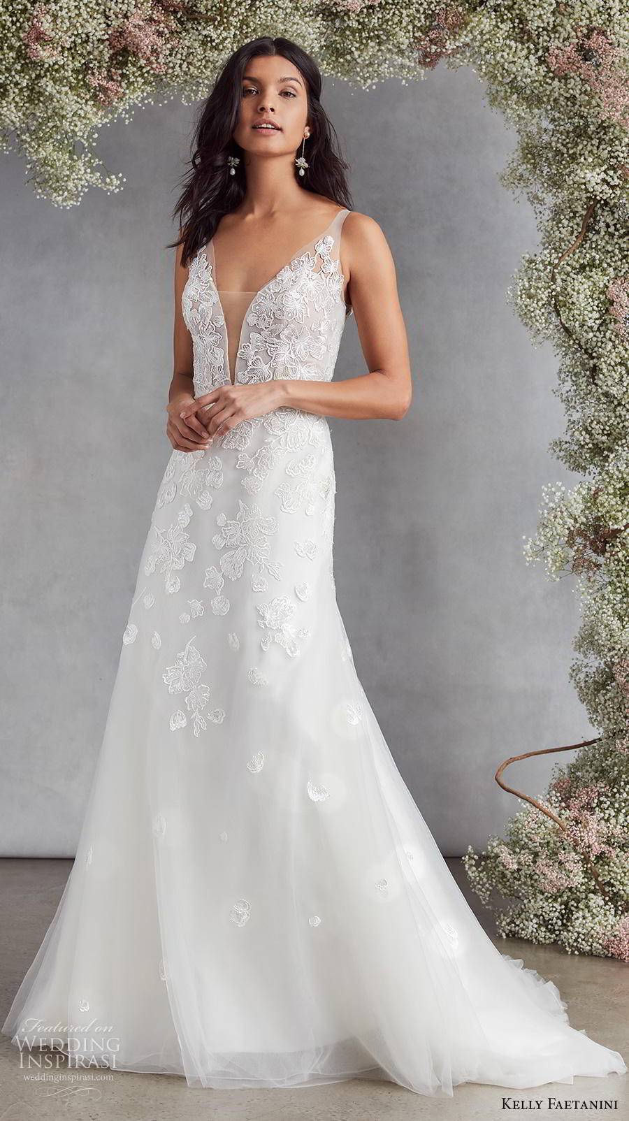 kelly faetanini fall 2020 bridal sleeveless deep plunging v neck heavily embellished bodice romantic modified a  line wedding dress backless v back chapel train (5) mv