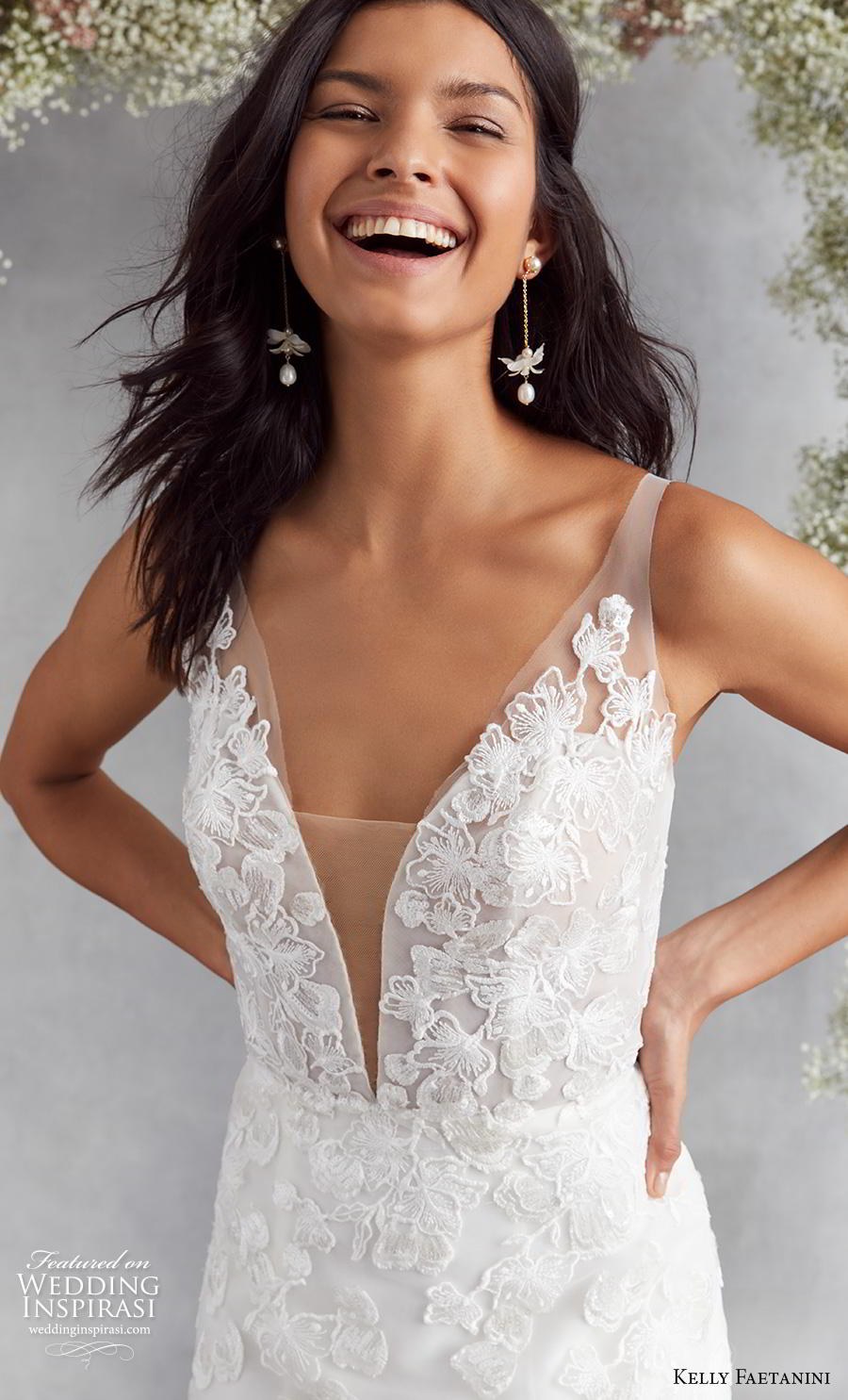 kelly faetanini fall 2020 bridal sleeveless deep plunging v neck heavily embellished bodice romantic modified a  line wedding dress backless v back chapel train (5) zv