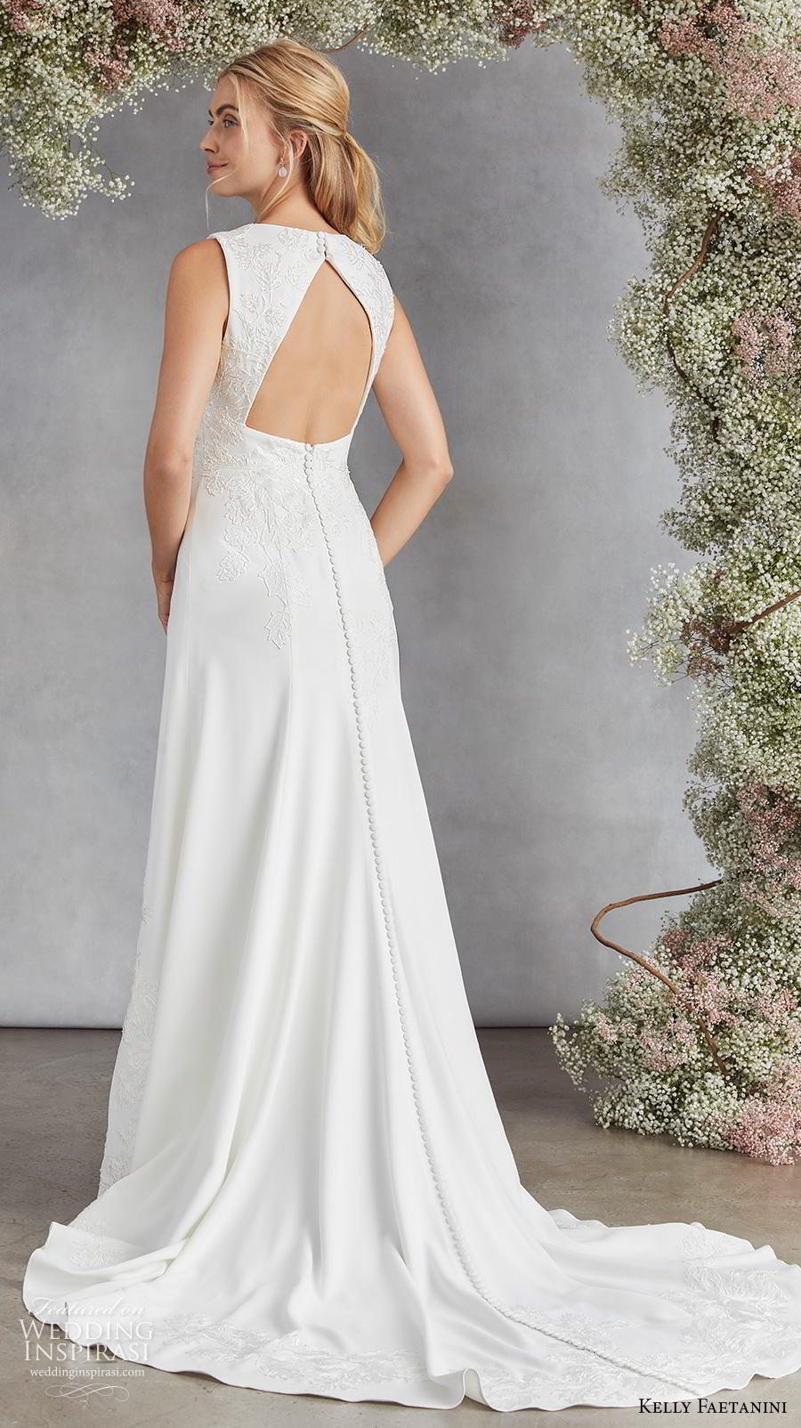 kelly faetanini fall 2020 bridal sleeveless deep plunging v neck light embellishment romantic modified a  line wedding dress keyhole back medium train (4) bv