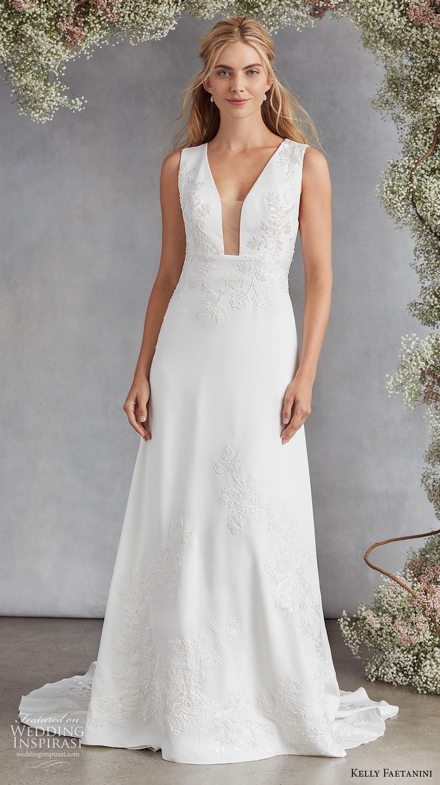 kelly faetanini fall 2020 bridal sleeveless deep plunging v neck light embellishment romantic modified a  line wedding dress keyhole back medium train (4) mv