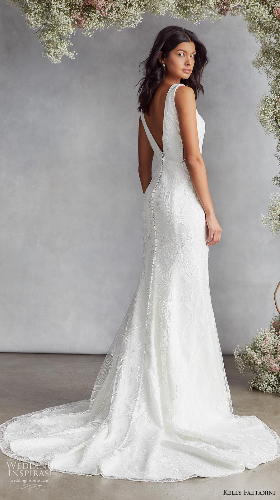 kelly faetanini fall 2020 bridal sleeveless funnel v neck light embellishment elegant fit and flare wedding dress backless v back medium train (18) bv
