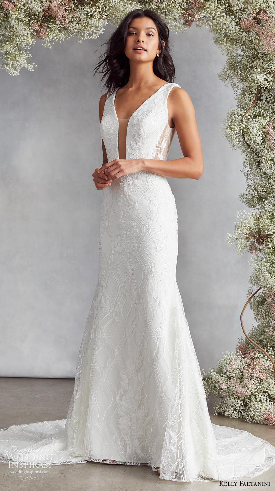 kelly faetanini fall 2020 bridal sleeveless funnel v neck light embellishment elegant fit and flare wedding dress backless v back medium train (18) mv