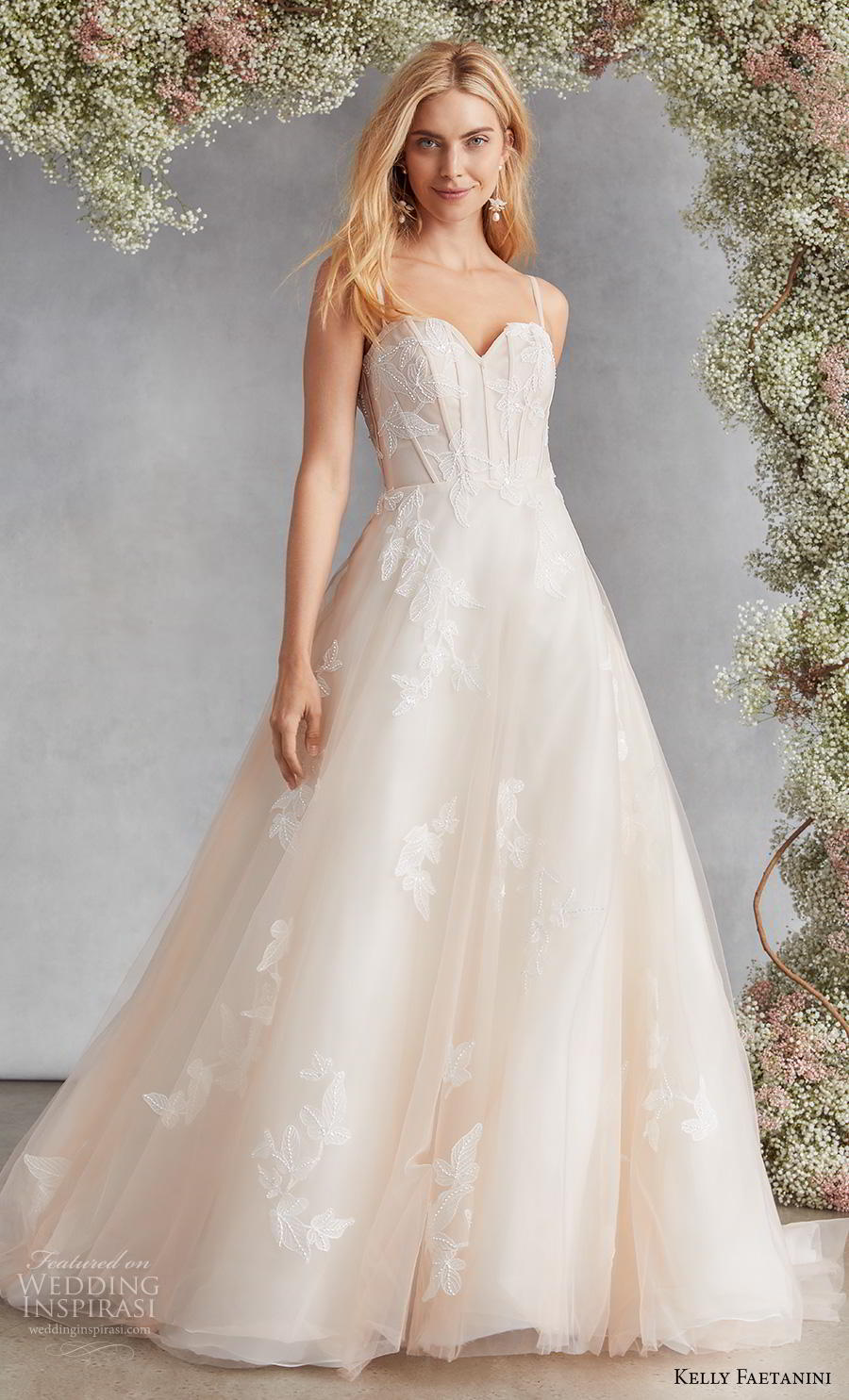 kelly faetanini fall 2020 bridal sleeveless spaghetti strap sweetheart neckline light embellishment romantic a  line wedding dress mid back medium train (1) mv