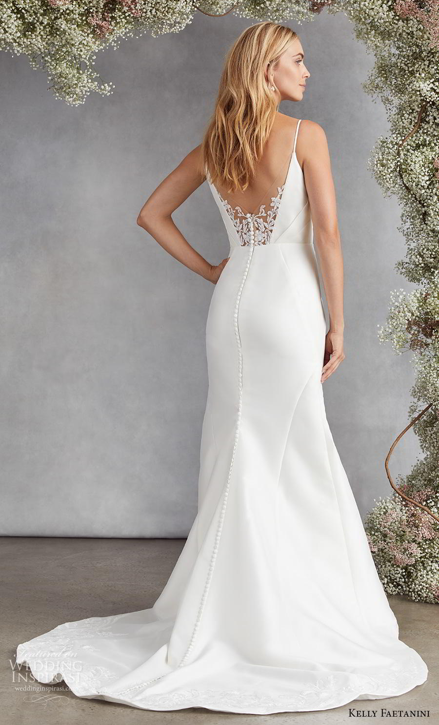 kelly faetanini fall 2020 bridal sleeveless spaghetti strap v neck ruched bodice simple classic fit and flare wedding dress backless medium train (15) bv