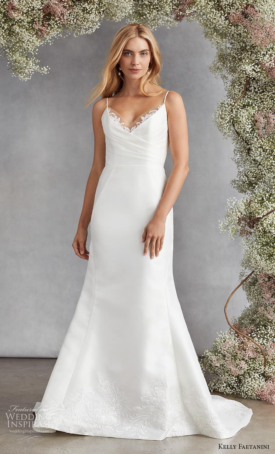 kelly faetanini fall 2020 bridal sleeveless spaghetti strap v neck ruched bodice simple classic fit and flare wedding dress backless medium train (15) mv