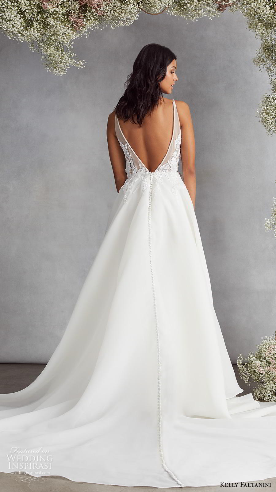 kelly faetanini fall 2020 bridal sleeveless thin strap deep plunging sweetheart neckline heavily embellished bodice romantic a  line wedding dress backless v back chapel train (7) bv