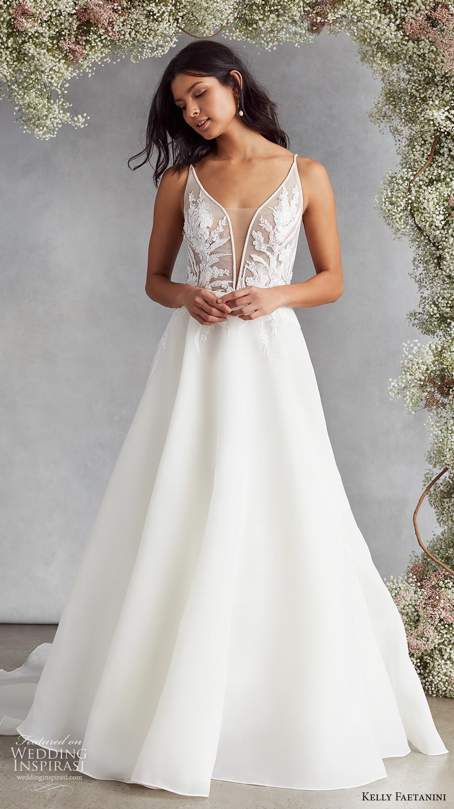 kelly faetanini fall 2020 bridal sleeveless thin strap deep plunging sweetheart neckline heavily embellished bodice romantic a  line wedding dress backless v back chapel train (7) fv